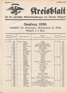 Kreisblatt für die amtlichen Bekanntmachungen des Kreises Belgard 1936 Nr 14