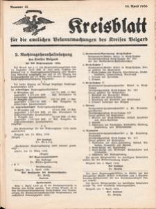 Kreisblatt für die amtlichen Bekanntmachungen des Kreises Belgard 1936 Nr 15