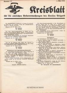 Kreisblatt für die amtlichen Bekanntmachungen des Kreises Belgard 1936 Nr 17