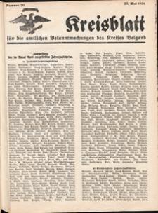 Kreisblatt für die amtlichen Bekanntmachungen des Kreises Belgard 1936 Nr 20