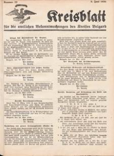 Kreisblatt für die amtlichen Bekanntmachungen des Kreises Belgard 1936 Nr 22