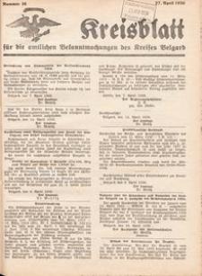Kreisblatt für die amtlichen Bekanntmachungen des Kreises Belgard 1936 Nr 16