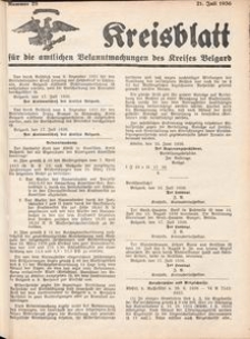 Kreisblatt für die amtlichen Bekanntmachungen des Kreises Belgard 1936 Nr 28