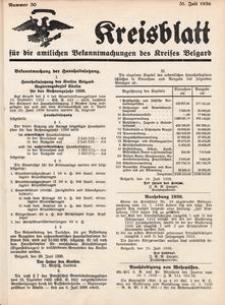 Kreisblatt für die amtlichen Bekanntmachungen des Kreises Belgard 1936 Nr 30