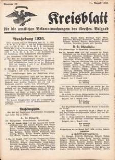 Kreisblatt für die amtlichen Bekanntmachungen des Kreises Belgard 1936 Nr 32