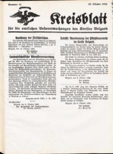 Kreisblatt für die amtlichen Bekanntmachungen des Kreises Belgard 1936 Nr 41