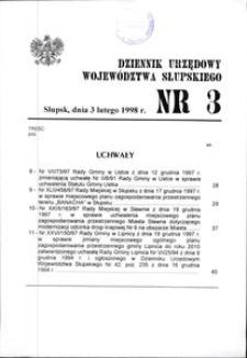 Dziennik Urzędowy Województwa Słupskiego. Nr 3/1998