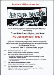"""Zaproszenie członków i współpracowników KO """"Solidarność"""" 1989 r."""