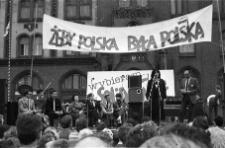 Solidarność 1989 wybory parlamentarne [wiec przedwyborczy przed słupskim ratuszem 4]