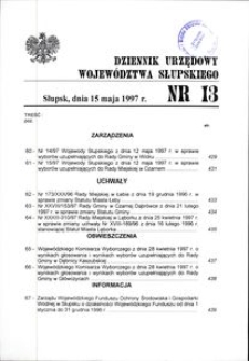 Dziennik Urzędowy Województwa Słupskiego. Nr 13/1997