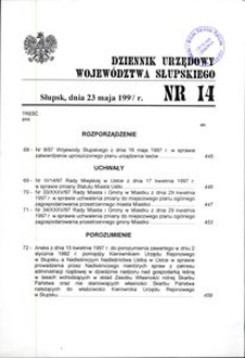 Dziennik Urzędowy Województwa Słupskiego. Nr 14/1997