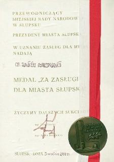 Za Zasługi Dla Miasta Słupska