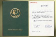 Starosta Słupski - List Gratulacyjny [z okazji nadania tytułu Honorowego Obywatela Miasta Słupska]