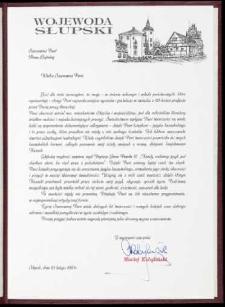 Wojewoda Słupski [list gratulacyjny z okazji 40. pracy literackiej]