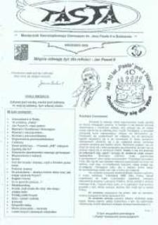 Pasta. Miesięcznik Samorządowego Gimnazjum im. Jana Pawła II w Bolszewie, 2009, wrzesień