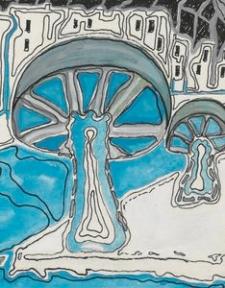 Projekty dekoracji do bajki Porwanie Baltazara Gąbki