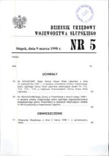Dziennik Urzędowy Województwa Słupskiego. Nr 5/1998