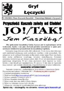 Gryf Łęczycki. Pismo Zrzeszenia Kaszubsko-Pomorskiego Oddziału w Łęczycach, 2011, marzec, Nr 3 (9)