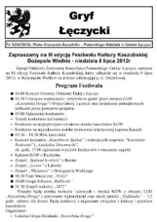 Gryf Łęczycki. Pismo Zrzeszenia Kaszubsko-Pomorskiego Oddziału w Gminie Łęczyce, 2012, lipiec, Nr 3 (14)