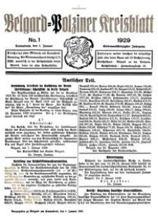 Belgard-Polziner Kreisblatt, 1929, Nr 1