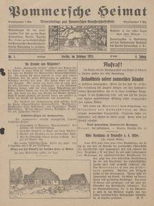 Pommersche Heimat. Monatsbeilage zum Pommerschen Genossenschaftsblatt Nr. 1/1915