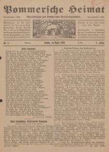 Pommersche Heimat. Monatsbeilage zum Pommerschen Genossenschaftsblatt Nr. 4/1916