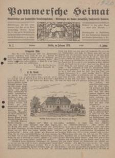 Pommersche Heimat. Monatsbeilage zum Pommerschen Genossenschaftsblatt. - Mitteilungen des Bundes Heimatschutz, Landesverein Pommern Nr. 2/1920
