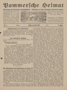 Pommersche Heimat. Monatsbeilage zum Pommerschen Genossenschaftsblatt. - Mitteilungen des Bundes Heimatschutz, Landesverein Pommern Nr. 5/1920