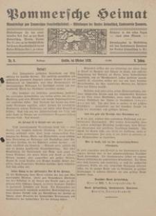 Pommersche Heimat. Monatsbeilage zum Pommerschen Genossenschaftsblatt. - Mitteilungen des Bundes Heimatschutz, Landesverein Pommern Nr. 9/1920