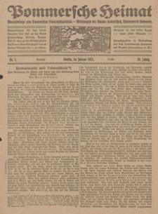 Pommersche Heimat. Monatsbeilage zum Pommerschen Genossenschaftsblatt. - Mitteilungen des Bundes Heimatschutz, Landesverein Pommern Nr. 1/1921