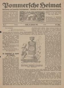 Pommersche Heimat. Monatsbeilage zum Pommerschen Genossenschaftsblatt. - Mitteilungen des Bundes Heimatschutz, Landesverein Pommern Nr. 2/1921