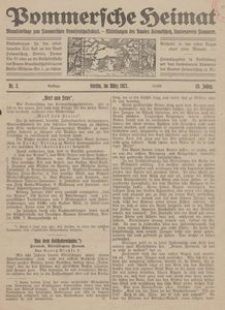 Pommersche Heimat. Monatsbeilage zum Pommerschen Genossenschaftsblatt. - Mitteilungen des Bundes Heimatschutz, Landesverein Pommern Nr. 3/1921
