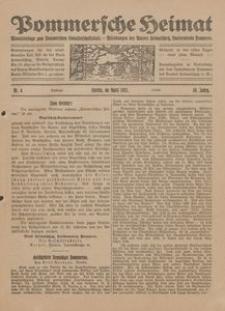Pommersche Heimat. Monatsbeilage zum Pommerschen Genossenschaftsblatt. - Mitteilungen des Bundes Heimatschutz, Landesverein Pommern Nr. 4/1921