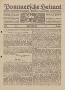 Pommersche Heimat. Monatsbeilage zum Pommerschen Genossenschaftsblatt. - Mitteilungen des Bundes Heimatschutz, Landesverein Pommern Nr. 6/1921