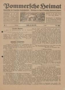 Pommersche Heimat. Monatsbeilage zum Pommerschen Genossenschaftsblatt. - Mitteilungen des Bundes Heimatschutz, Landesverein Pommern Nr. 7/1921