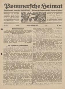 Pommersche Heimat. Monatsbeilage zum Pommerschen Genossenschaftsblatt. - Mitteilungen des Bundes Heimatschutz, Landesverein Pommern Nr. 10/1921