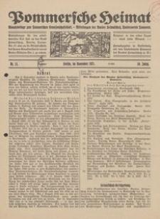 Pommersche Heimat. Monatsbeilage zum Pommerschen Genossenschaftsblatt. - Mitteilungen des Bundes Heimatschutz, Landesverein Pommern Nr. 11/1921