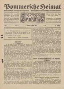 Pommersche Heimat. Monatsbeilage zum Pommerschen Genossenschaftsblatt. - Mitteilungen des Bundes Heimatschutz, Landesverein Pommern Nr. 3/1922