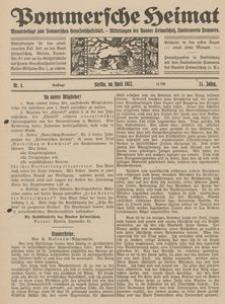 Pommersche Heimat. Monatsbeilage zum Pommerschen Genossenschaftsblatt. - Mitteilungen des Bundes Heimatschutz, Landesverein Pommern Nr. 4/1922