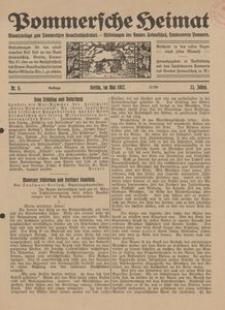 Pommersche Heimat. Monatsbeilage zum Pommerschen Genossenschaftsblatt. - Mitteilungen des Bundes Heimatschutz, Landesverein Pommern Nr. 5/1922