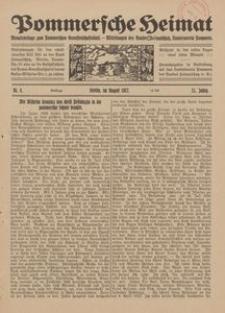Pommersche Heimat. Monatsbeilage zum Pommerschen Genossenschaftsblatt. - Mitteilungen des Bundes Heimatschutz, Landesverein Pommern Nr. 8/1922