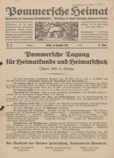 Pommersche Heimat. Monatsbeilage zum Pommerschen Genossenschaftsblatt. - Mitteilungen des Bundes Heimatschutz, Landesverein Pommern Nr. 12/1922
