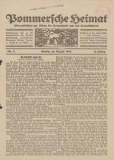 Pommersche Heimat. Monatsblätter zur Pflege der Heimatkunde und des Heimatschutzes Nr. 8/1923