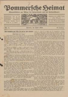 Pommersche Heimat. Monatsblätter zur Pflege der Heimatkunde und des Heimatschutzes Nr. 6/1924