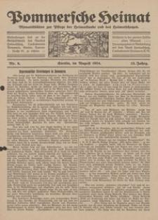 Pommersche Heimat. Monatsblätter zur Pflege der Heimatkunde und des Heimatschutzes Nr. 8/1924