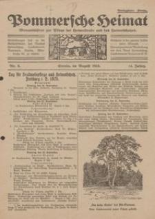 Pommersche Heimat. Monatsblätter zur Pflege der Heimatkunde und des Heimatschutzes Nr. 8/1925