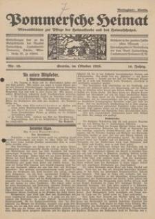 Pommersche Heimat. Monatsblätter zur Pflege der Heimatkunde und des Heimatschutzes Nr. 10/1925