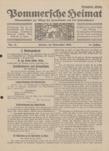 Pommersche Heimat. Monatsblätter zur Pflege der Heimatkunde und des Heimatschutzes Nr. 11/1925