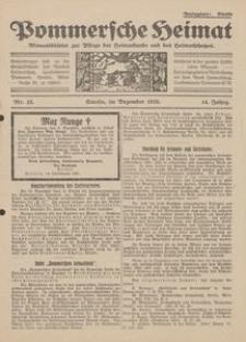 Pommersche Heimat. Monatsblätter zur Pflege der Heimatkunde und des Heimatschutzes Nr. 12/1925