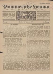 Pommersche Heimat. Monatsblätter zur Pflege der Heimatkunde und des Heimatschutzes Nr. 1/1926